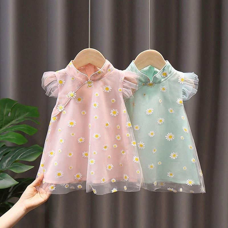 New Baby Girls Dress Summer National style Little Daisy cheongsam robe fleur mignonne layette QZ115 nudv #