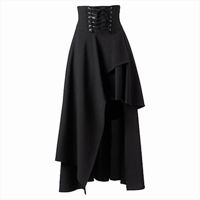 Kadın Siyah Lace Up Etekler Yüksek Kalite Gotik Lolita Stil Uzun Etek Yeni Moda Bayan Düzensiz Etek Sonbahar Kış Giyim