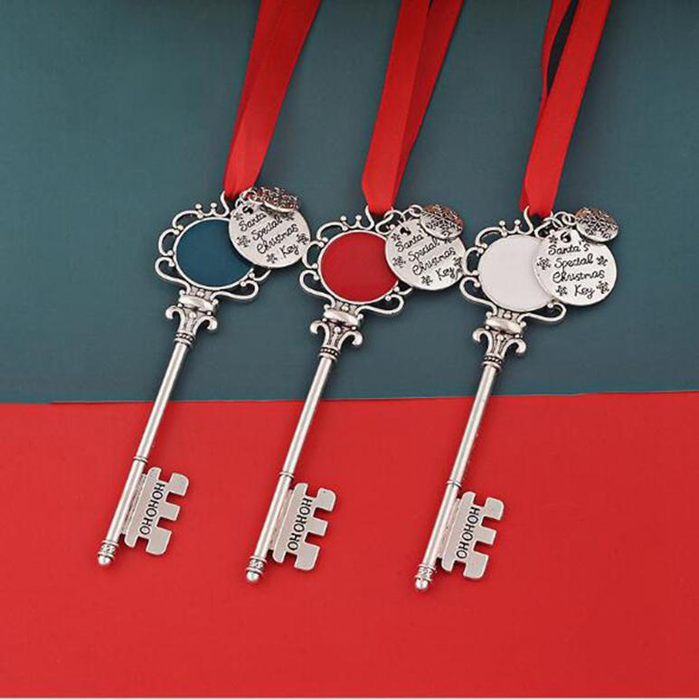 Weihnachtsschneeflocke Schlüsselanhänger Anhänger Dekoration Magie Weihnachtsmann Weihnachtsbaum Ornamente Geschenke DIY Halskette Schmuck Partei Requisiten FFA4475-6