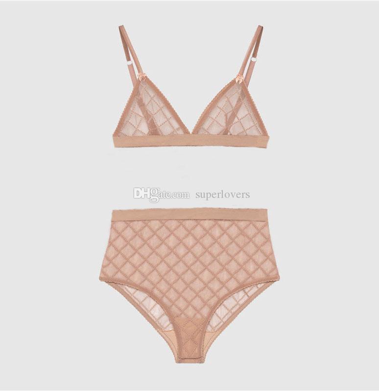 Últimas Sexy Lace Bikinis Tulle Letter Seamless Sutiã Set Soft Respirável Lingerie para Mulheres 2 Cores