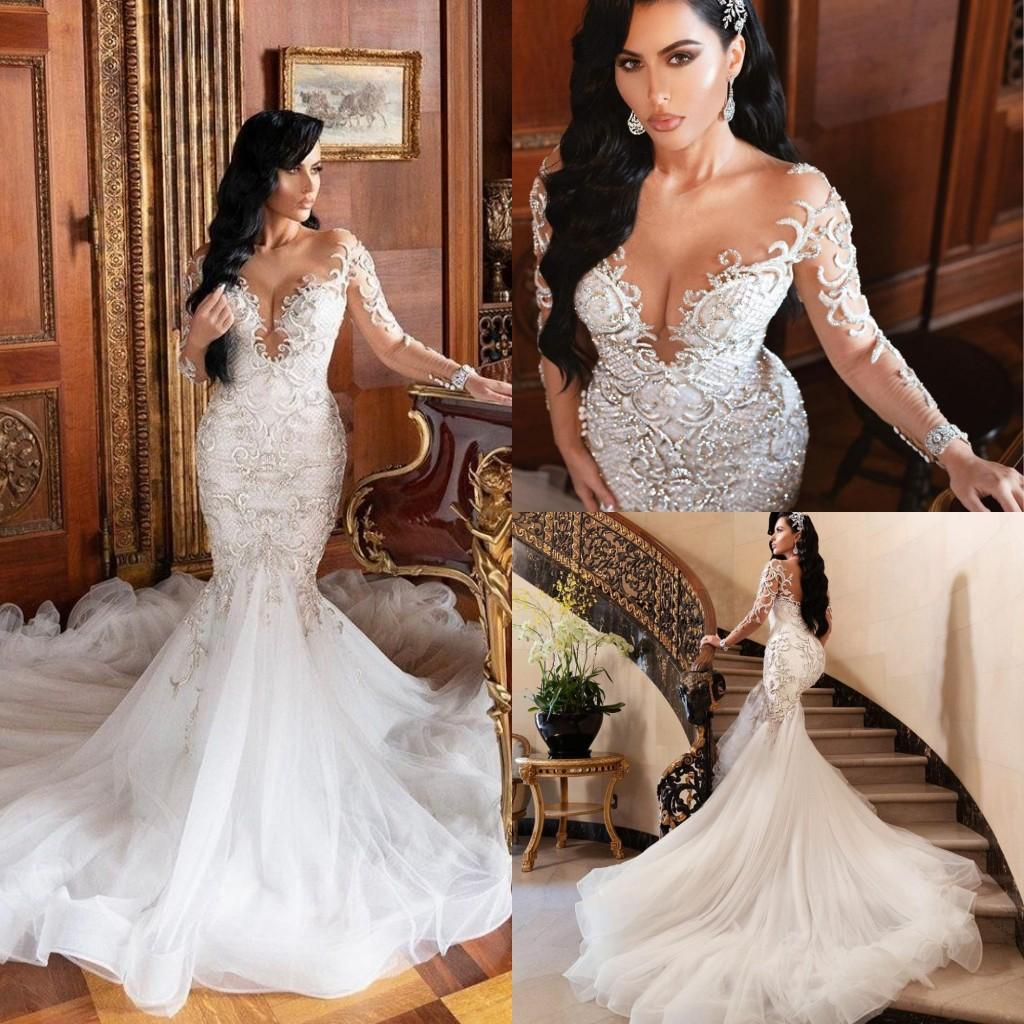 2021 роскошные кристаллы русалки свадебные платья иллюзия с длинными рукавами кружева с бисером свадебное платье тюль код поезда плюс размер халат де Марие al3236