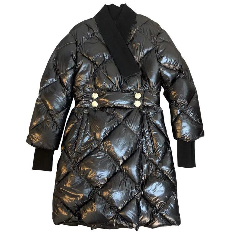 Sólido Brasão [DEAT] New Outono Inverno Moda completa de algodão de manga Grosso fivela metálica Japão Estilo Diamante Mulheres HT040 201015