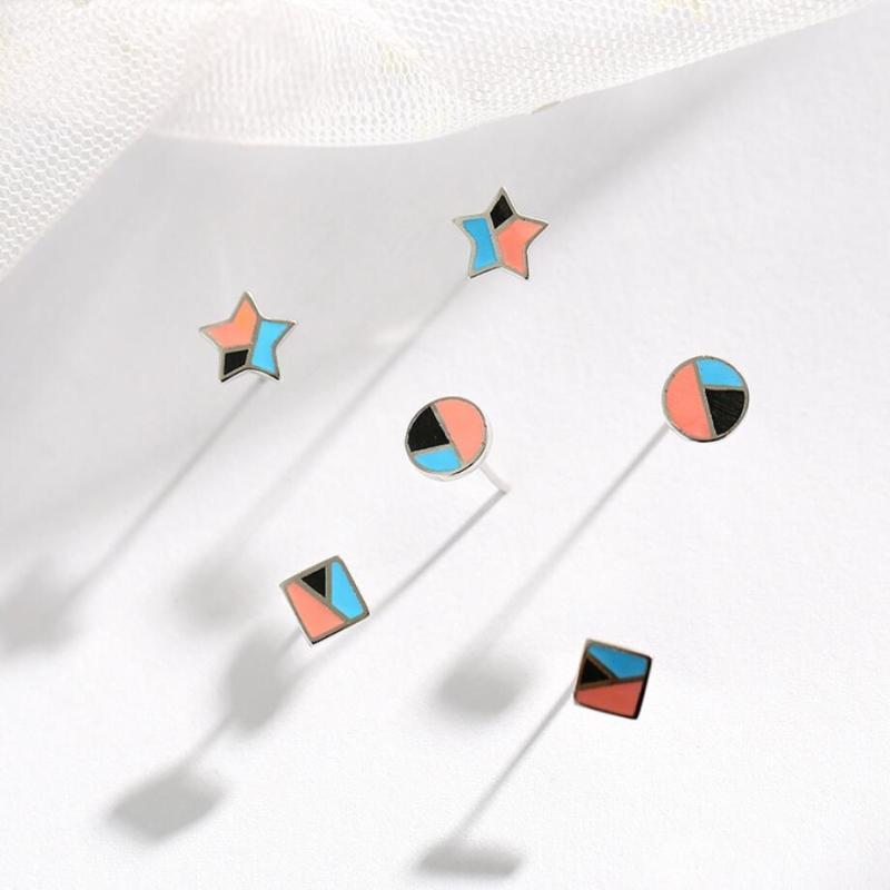 Шпилька подошвы памяти цвет капля глазурь Геометрия звезды круговой квадрат свежий 925 стерлингового серебра мода женские серьги море458