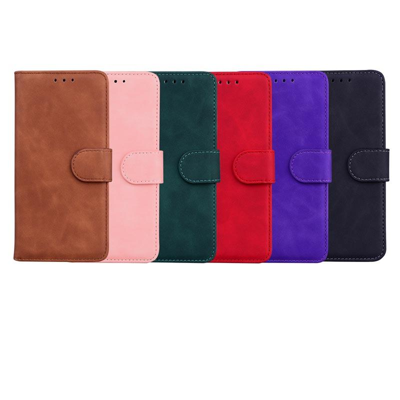 Skin Feel Leather Wallet Cases For Samsung A02S 5G A52 A72 S21 Ultra Plus A32 A42 A12 LG Velvet G9 K42 Plain Retro Vintage PU Card ID Slot Holder Magnetic Flip Cover Pouch
