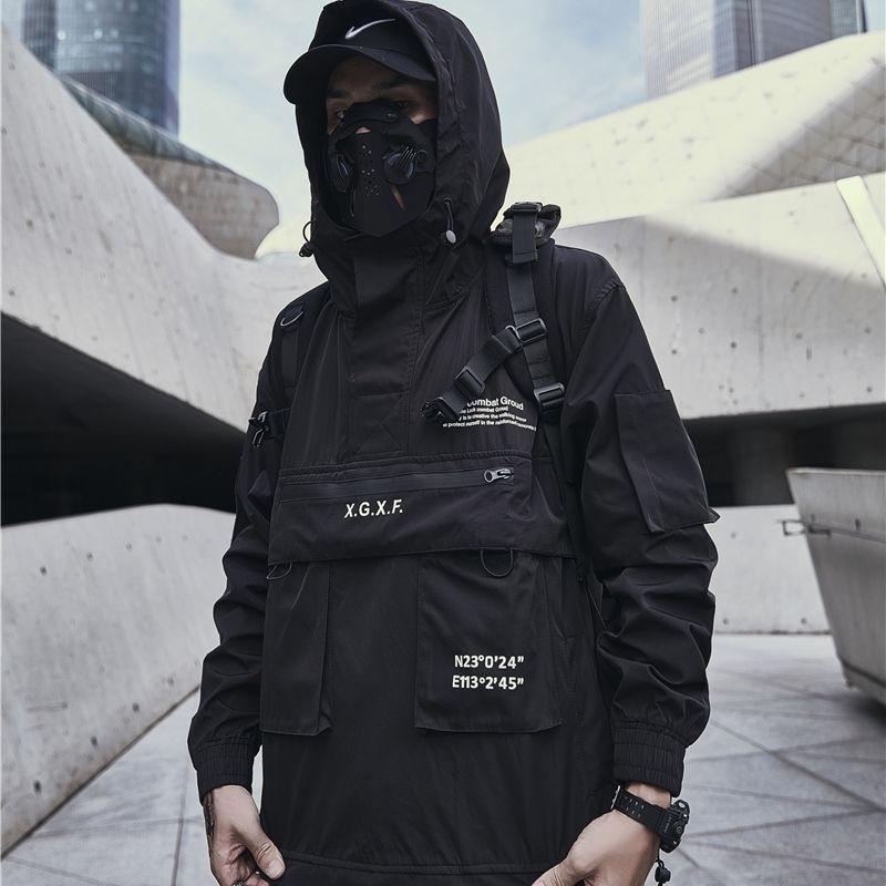 Techwear Chaqueta Hombres Black Hooded Multi Bolsets Anorak 201103