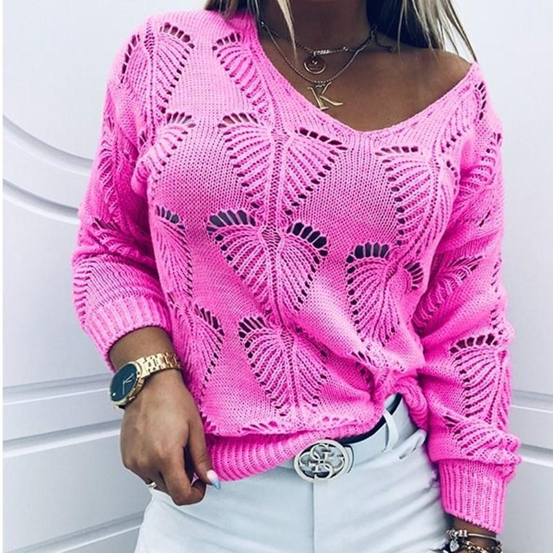 Женская мода осень зима свитера выдалбливают дизайн См V-образным вырезом с длинным рукавом сплошной цвет вскользь Сыпучие Вязаные Top