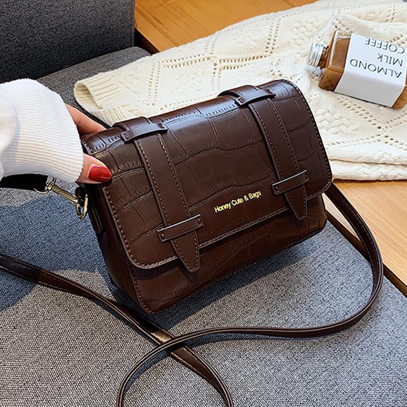 Sac à bandoulière de luxe en cuir PU simple pour fille Sac à main Nouveau hiver Crossbody 2020 Voyage Femme Femme Fashion NVHKQ