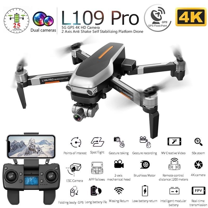 L109 PRO GPS 무인 항공기가 2 축 GIMBAL ANTI-Shake SelfStabilizing WiFi FPV 4K 카메라 브러시리스 쿼드 코터 대 SG906 Pro F11 Zen K1 201210