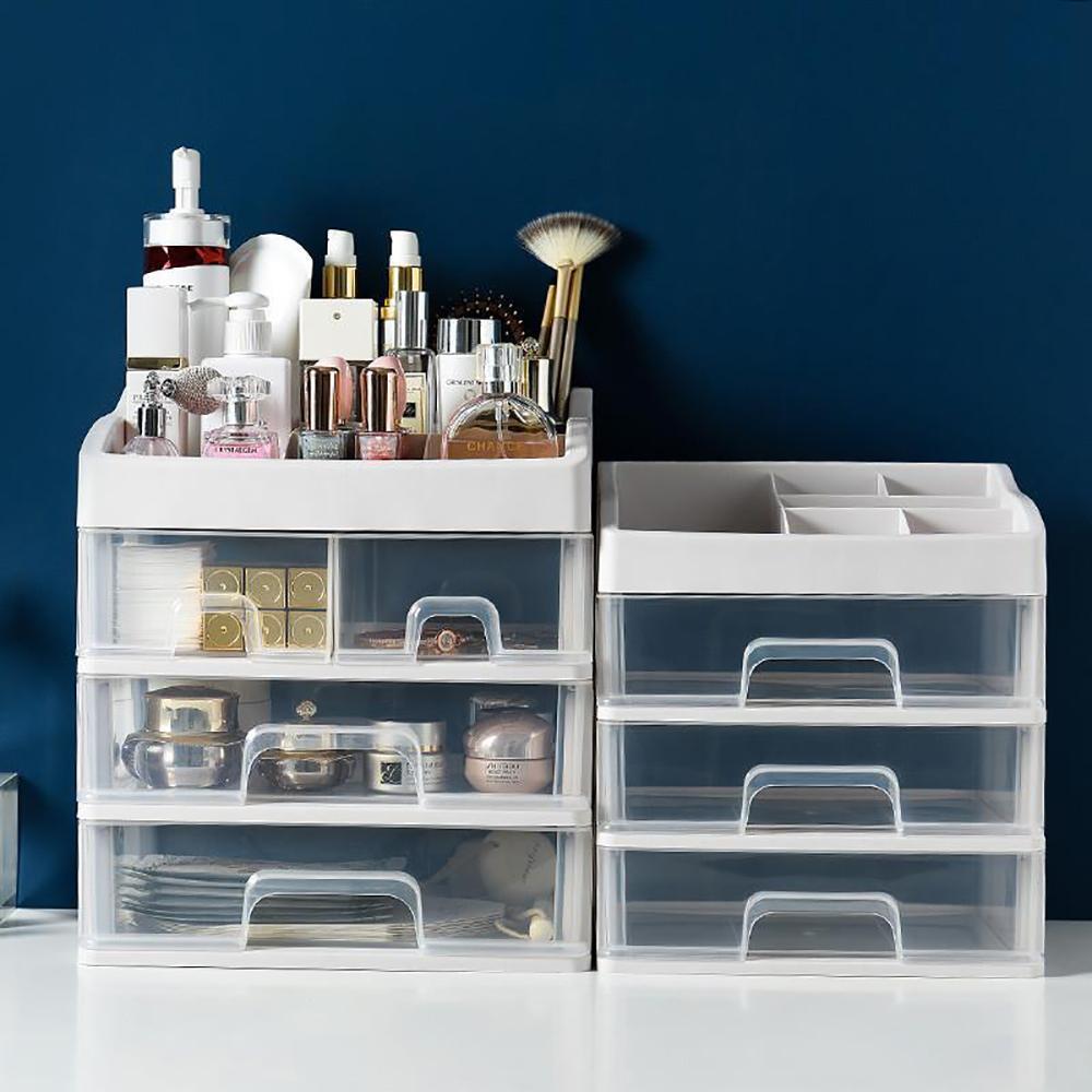 Plastica multistrato compone la cassa trucco cosmetico cassetto trucco dell'organizzatore Storage Box gioielli titolare Brush Container organizzatori C1005