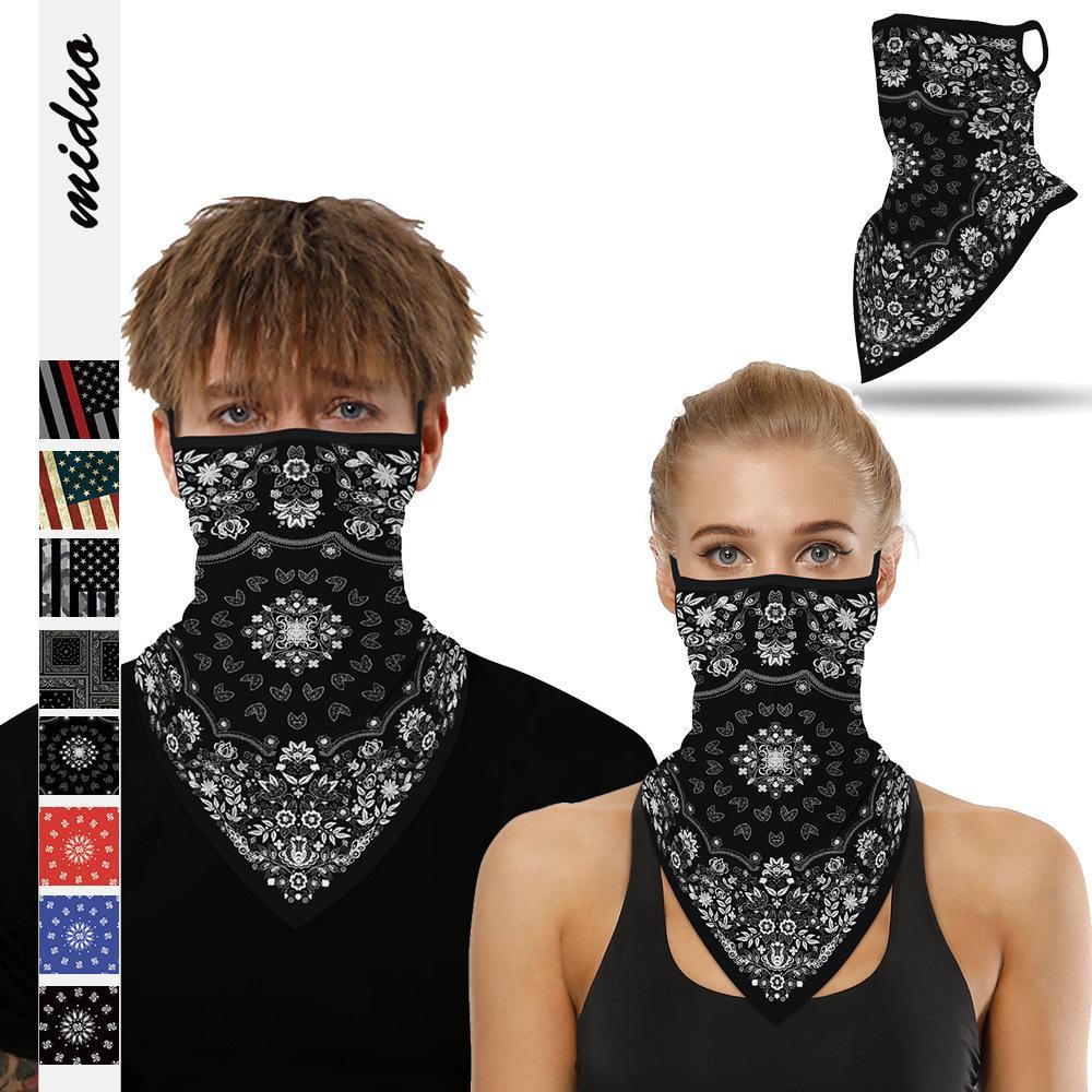 Череп маска Треугольной Маски цифровой печать задействуя шарф мужских и женщина висячей ухи Маска Открытого Спорт ободки