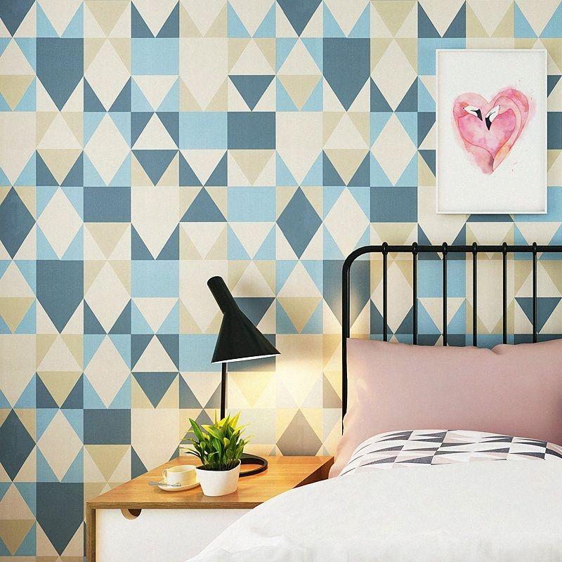 Modern Mavi Geometrik Üçgen Duvar kağıdı Rulo Elmas Duvar kağıdı Akdeniz Papel De Parede Yatak İskandinav Salon FFQG #