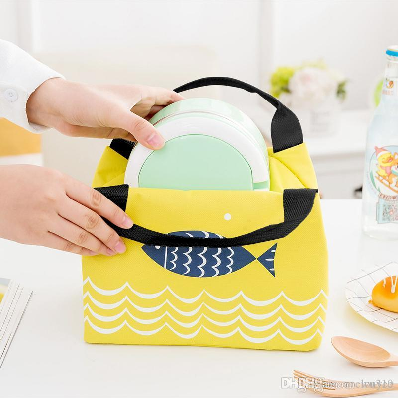 Thermal Insulated Cooler Tote Bag Oxford Cloth Cartoon Print Zipper Picnic Lunch Drink Bag Portable Carry Case Lunch Box 4 Colors DBC VF1358