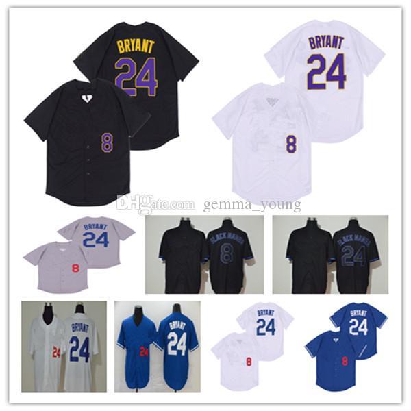 2020 LOS ÁNGELES BÉISBOL 8 24 Bryant KB Black Mamba Mamba Lad Jersey Hombres baratos Mujeres Mujeres Jóvenes Punté Completo Camisa Amarillo Azul Blanco Gris Bien