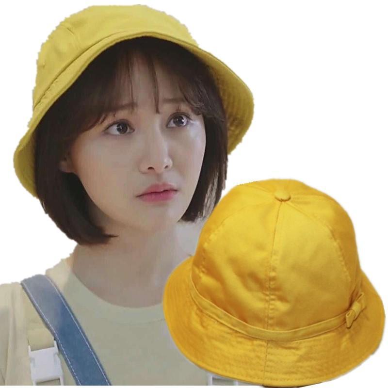 Öğrenci Sevimli Yay Balıkçı şapkası Kiraz Küçük Topu Küçük Sarı Şapka Rüzgar Geçirmez Halat Açık Rüzgar Geçirmez Güneşlik