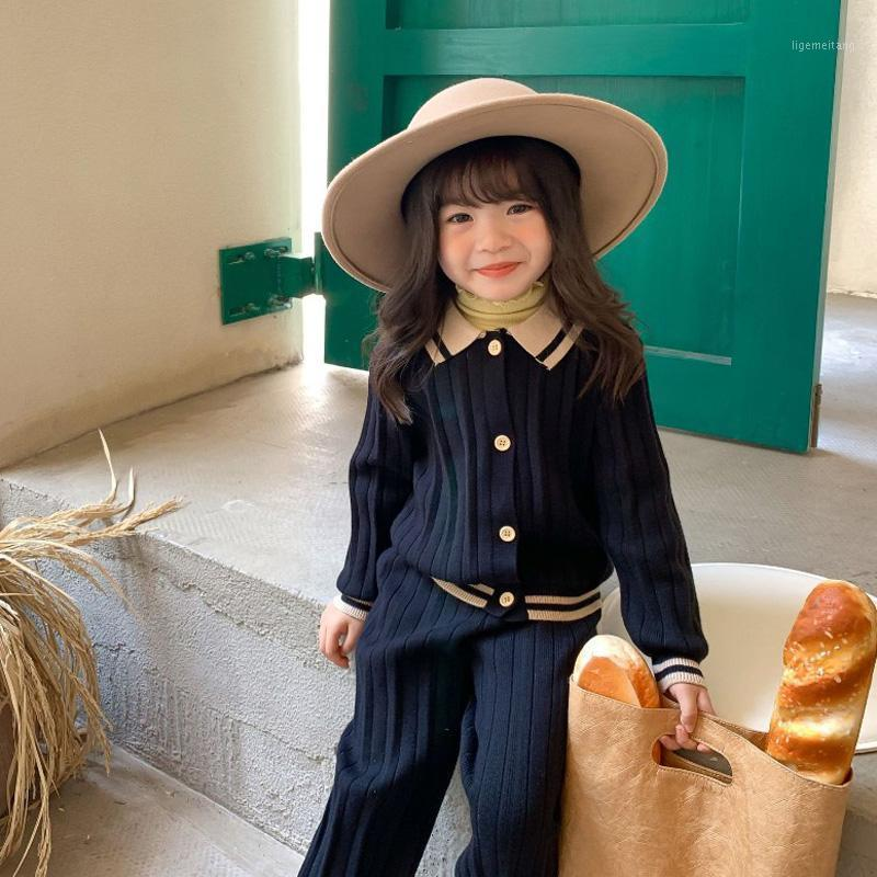 2020 otoño nueva llegada chicas moda punto 2 piezas traje abrigo + pantalones ropa para niños niñas niña set1