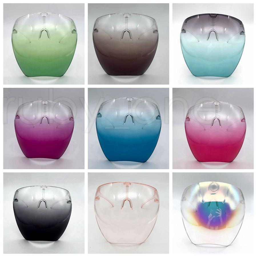 Sicherheitsgesichtsschutz mit Glas-Rahmen Transparent Full Face Cover schützende Maske Anti-Fog-Face Shield Klar Designer Masken RRA3798