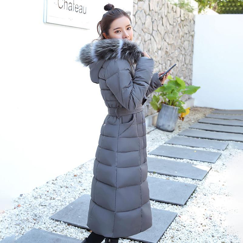 Taille Plus Femmes d'hiver X-Long Down Jacket Slim solide Femme manteaux à capuchon épais collier de fourrure avec Jupettes rembourré Pardessus Femme