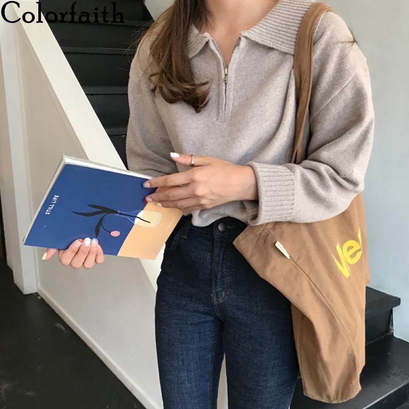 Colorfaith 2020 Nueva Otoño Invierno Mujeres Suéteres Turn-Down cuello con capucha de la cremallera de punto elegante coreano Señora salvaje Tops SW9142 A1107
