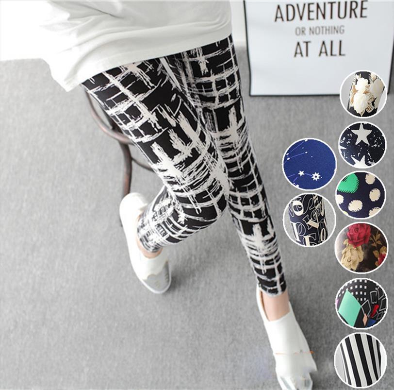 Gotik Tozluklar Sütlü Fırçalı Leggins Baskılı 2020 Yeni Bahar Yaz Süper Sıkı Renkli Yıldız Graffiti Yumuşak Legging