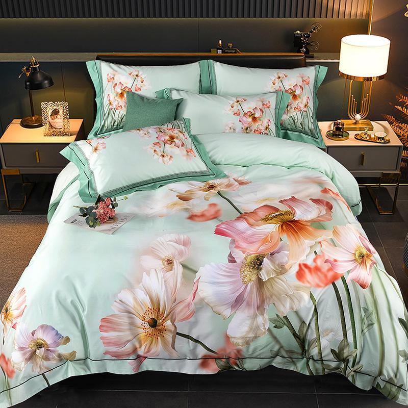 Set di biancheria da letto di lusso 600tc fiori di cotone egiziano Set di stampa Set piumino cover piumino rivestimento rivestito lenzuolo lenzuolo pillowcases tessili per la casa
