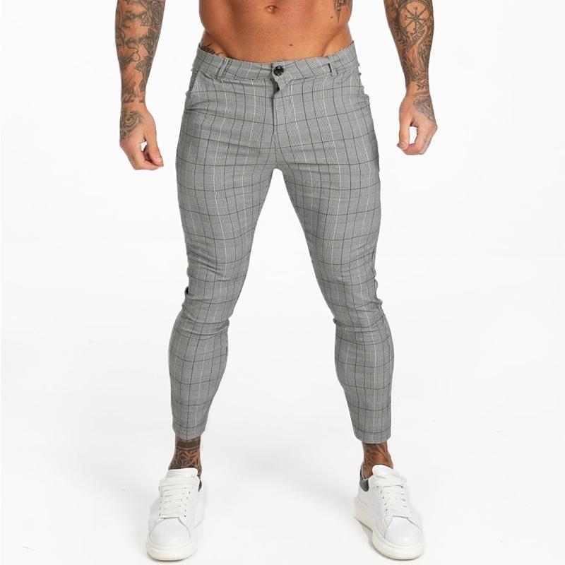 Gingto mens chinos slim fit erkekler sıska chino pantolon gri ayak bileği uzunluğu süper streç rahat pantolon tasarımcı ekose zm356 201118