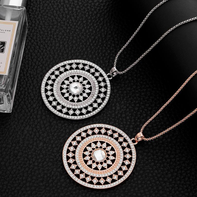 Lujo gran collar de colgante redondo regalo para las mujeres rosa oro color plata collares largos collares de cristal completo cadena joyería