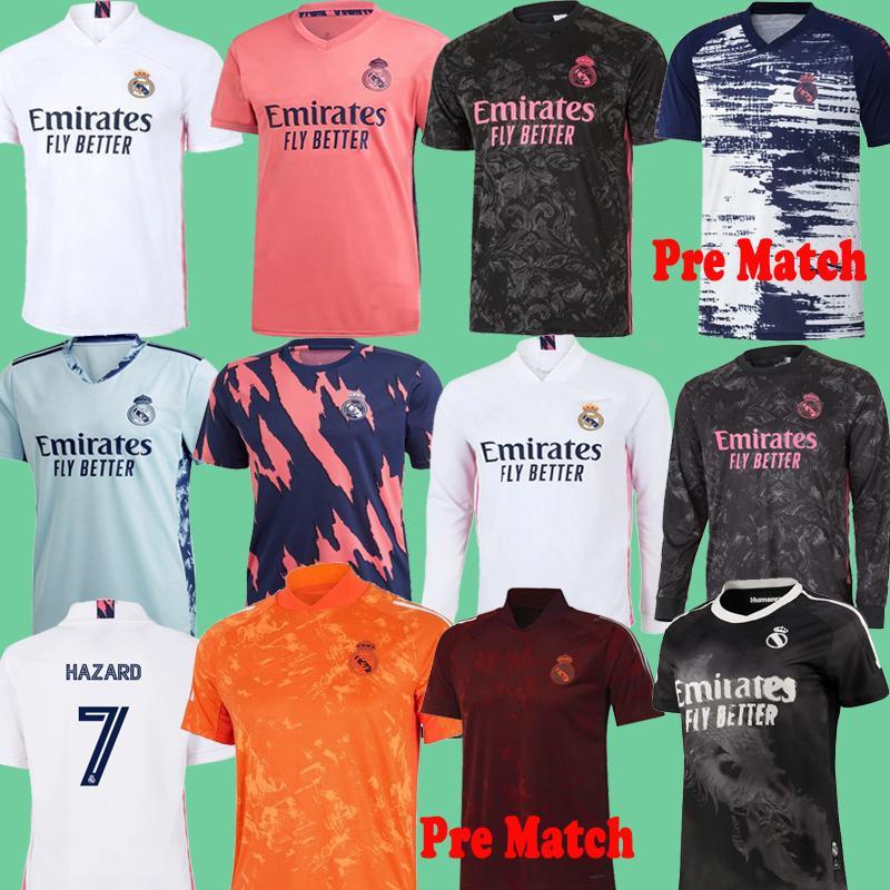 REAL MADRID 2020 2021 Pré-Match Formation Costume Maillots de football 20 21 DANGER ASENSIO VINICIUS Benzema chemise camiseta de football longues kits ensemble