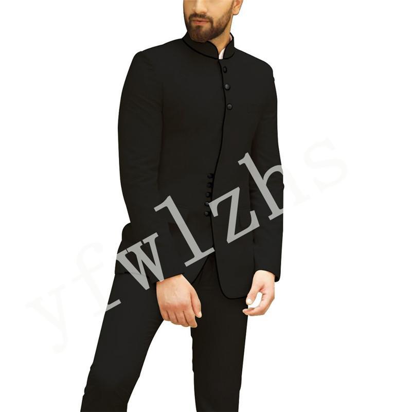 Przystojny Mandarin Lapel Groomsmen Single Breasted Groom Tuxedos Man's Garnitury Ślub / Prom / Kolacja Best Man Blazer (Kurtka + Spodnie + Krawat) K266