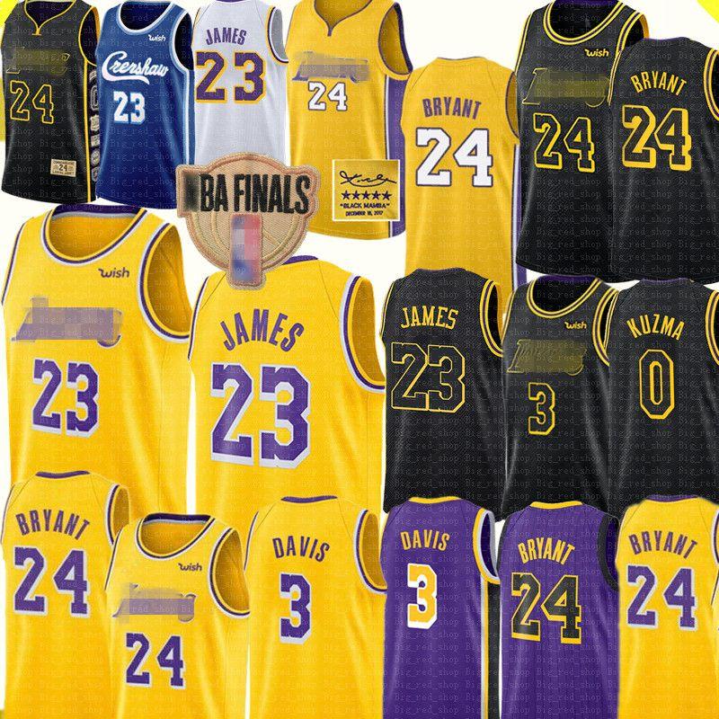 LeBron 23 James Jersey Los AngelesLakersJersey 2 4 Bryant Jersey Anthony 3 Davis Kyle 0 Kuzma Basketball Jerseys Yellow Black