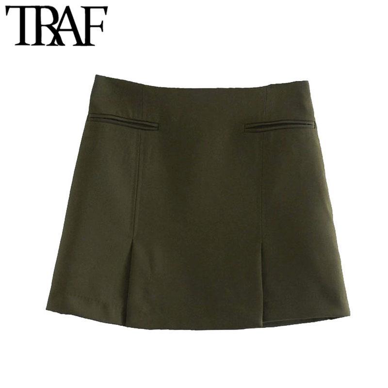 TRAF Frauen schicke Mode mit Taschen Vorderer Lüfter Minirock Vintage Hohe Taille Seite Reißverschluss Weibliche Röcke Mujer Q1229