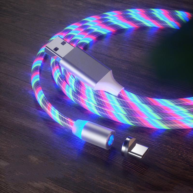 Cabo Magnético 3 em 1 carregador rápido LED Luz de luz de luz C cabo de carregamento rápido 2A Cabo de Cabo USB Micro