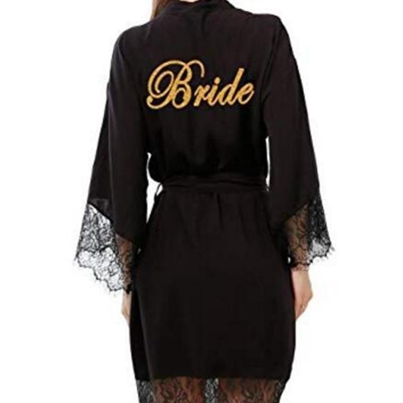 Robas de dama de honor de algodón con adornos de encaje Toma nupcial de boda con oro 001 y200425