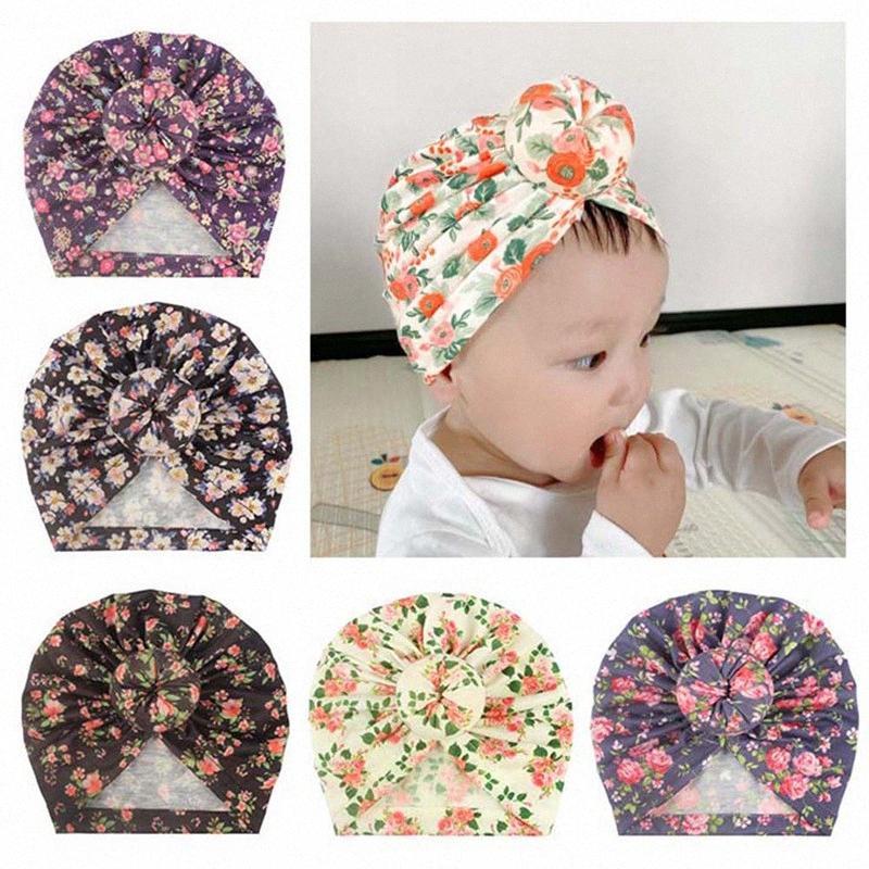 Cotone stampata floreale Cap annodate turbante fascia per le ragazze pullover del cappello della protezione dell'involucro della testa del bambino dei capelli accessori y30n #