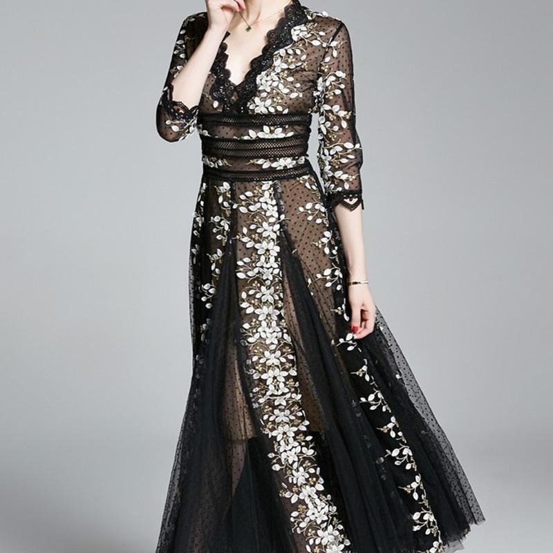 ZAWFL Designer piste Femmes Perspective sexy élégant Soiree Applique Robe Midi Vestidos Robe Femme C1024