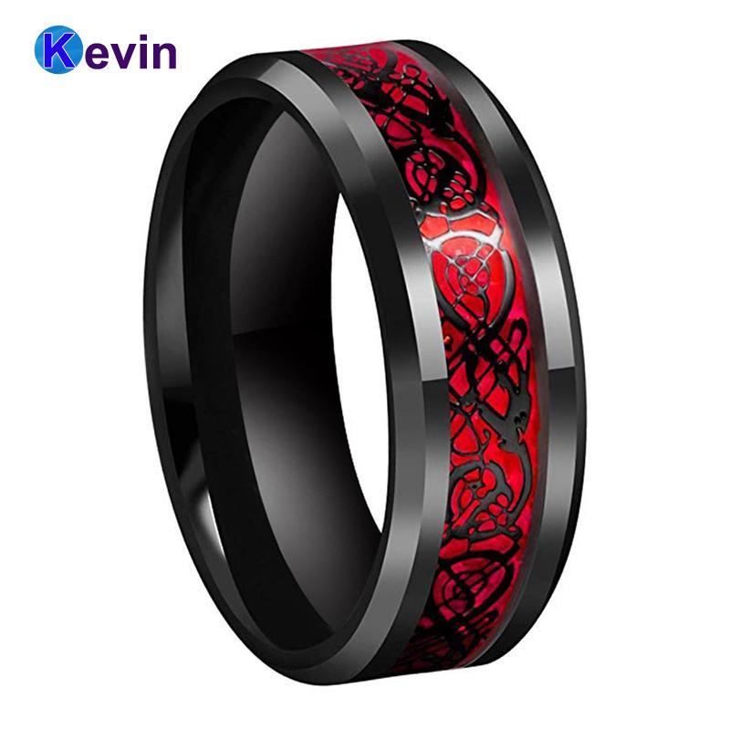 Черный Мужские Обручальное кольцо Кольцо дракона из карбида вольфрама Кольцо с красным опал и черный дракон инкрустацией 1009