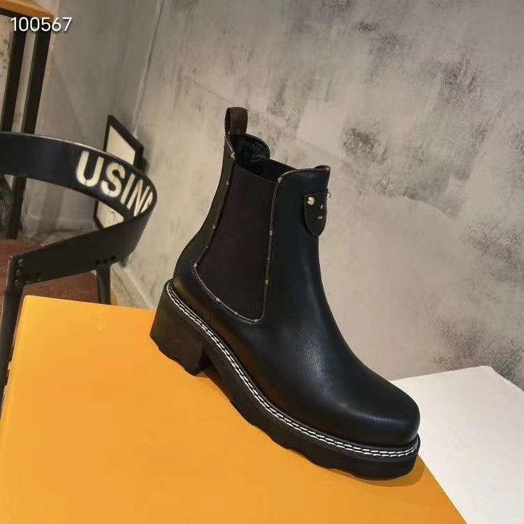 Moda Botas de Plataforma de Luxo 2020 Novas Mulheres Martin Botas Bezerro Black Womens Womens Trabalho Boot Mulher Beaubourg Tornozelo Botas Tamanho 35-41