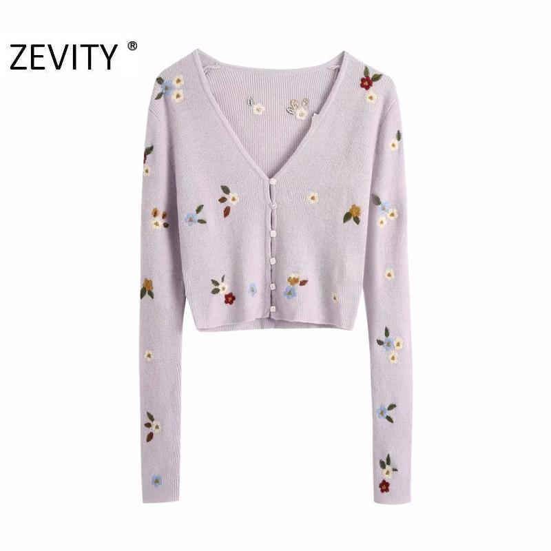 Zevity nouvelles femmes cardigan brodé de fleurs mode v cou tricot dames chandail à manches longues chandails occasionnels tops chics S402 Q1114