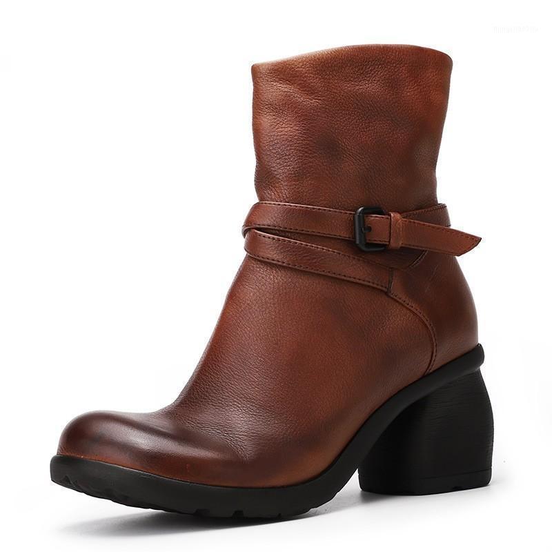 Handgemachte Vintage Knöchelstiefel Frau Schuhe Mode Feste Runde Zehe Schnalle Strap Zip Echtes Leder Damen High Heel Boots 35-401