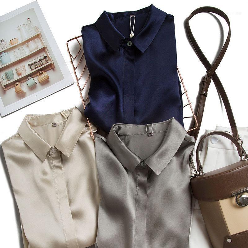 Birdsky, 1pc 98% Mulberry Seds y satins Camisetas de manga larga de las mujeres Top, señora de la oficina, collar de solapa cuadrada, colores sólidos. S-591