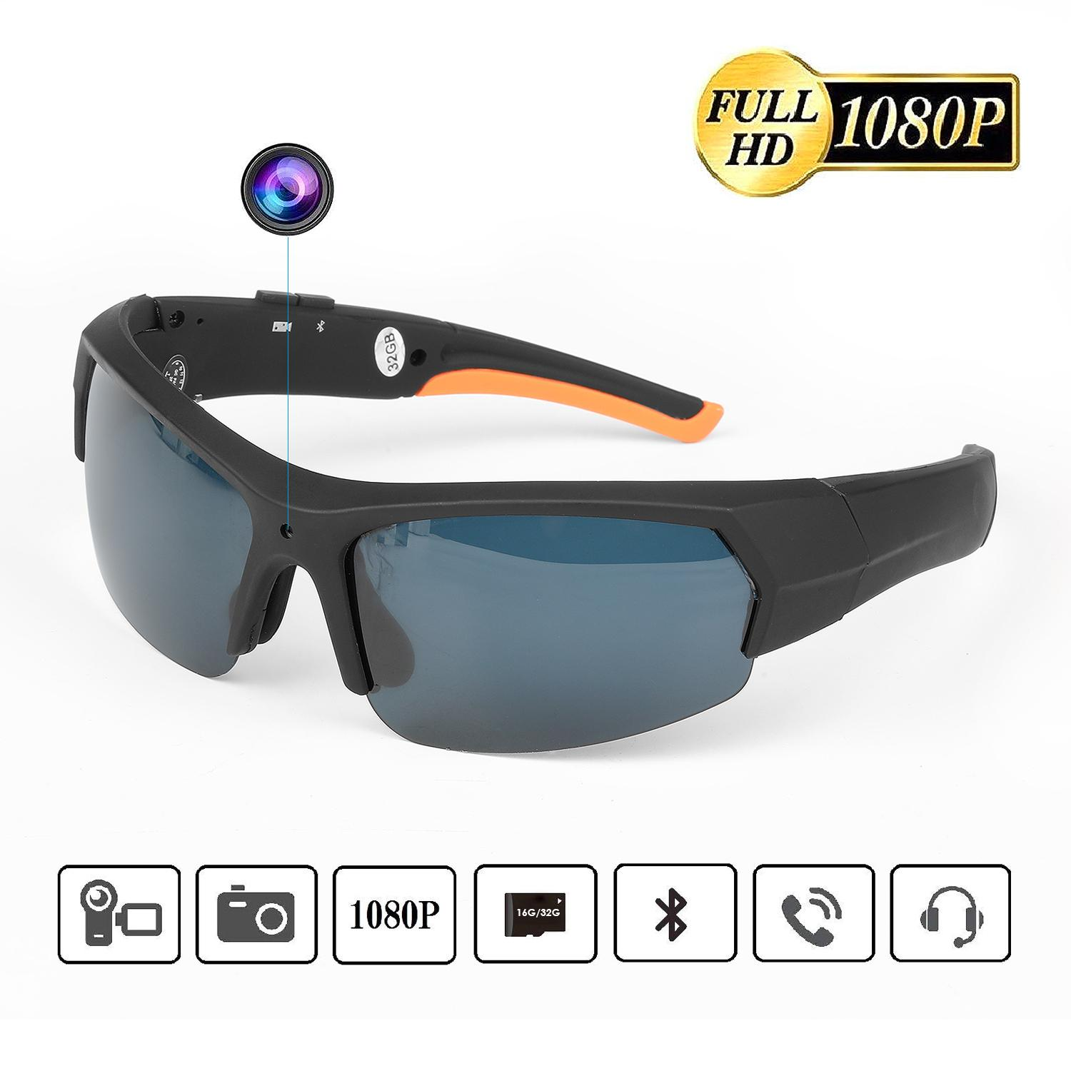 Multifunctional Sunglasses Camera HD 1080P Camcorder with Bluetooth Headset Built-in 16G/32G Memory Waterproof for Outdoors