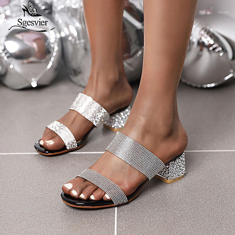 Sgesvier 2020 new arrive women sandals simple crystal square heel beach sandals Comfortable summer shoes ladies big size 34-431