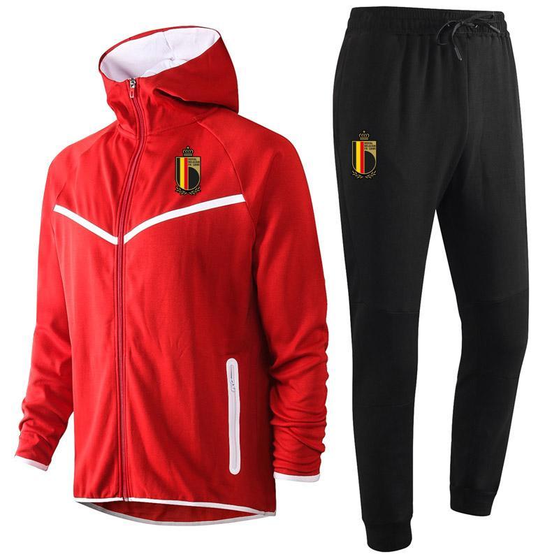 2020 Belçika milli takım futbol Hoodie Kazak Eşofman kış mens Setleri Koşu gündelik spor kapüşonlu antrenman spor takım elbise ayarlar