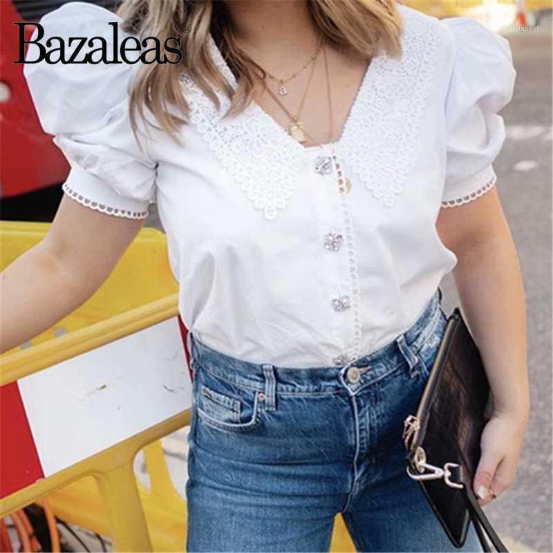 Рубашки женские блузки Bazaleas Мода Центр кнопок Блузка Женщины Франция Chic Отверните воротник Вышивка ROPA Mujer1