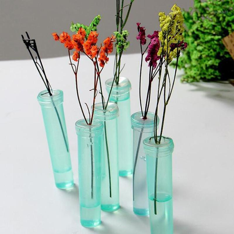 100 шт. Цветочные пищевые трубы Прочная пластиковая цветочная водяная труба с крышкой Поддерживайте свежий корпоративный гидропонный контейнер для цветок1