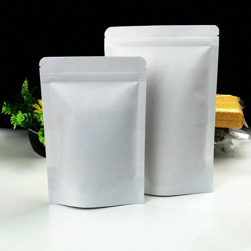 Bianco 50Pcs / Lot 10 * 15cm Stand Up carta kraft Doypack guarnizione termica Poly Zipper pacchetto busta richiudibile Partito Bag Valve P9y6 #