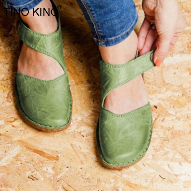 Женщины Кожа PU Flats обувь Vintage Sewing крюк петля Женщина сандалии дамы пряжки Мягкие вскользь ботинки женщин летом