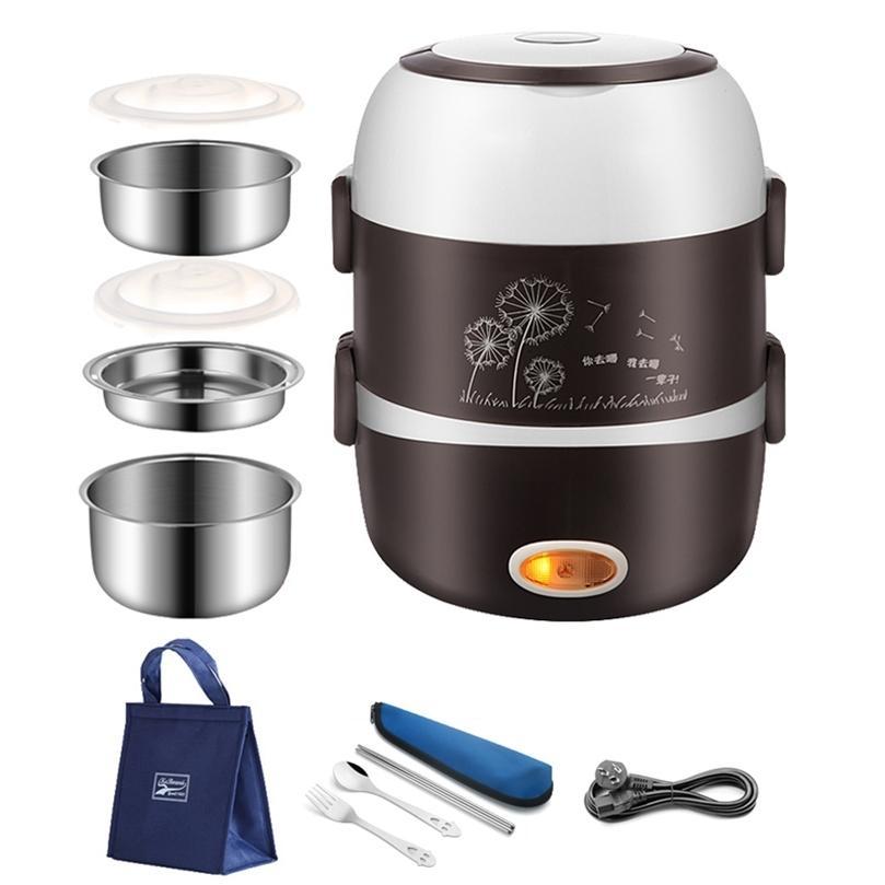 220V portátil lancheira elétrica almoço de aço inoxidável recipiente de alimentos escritório térmico bento caixa de bento alimento steamer mini arroz fogão 201210
