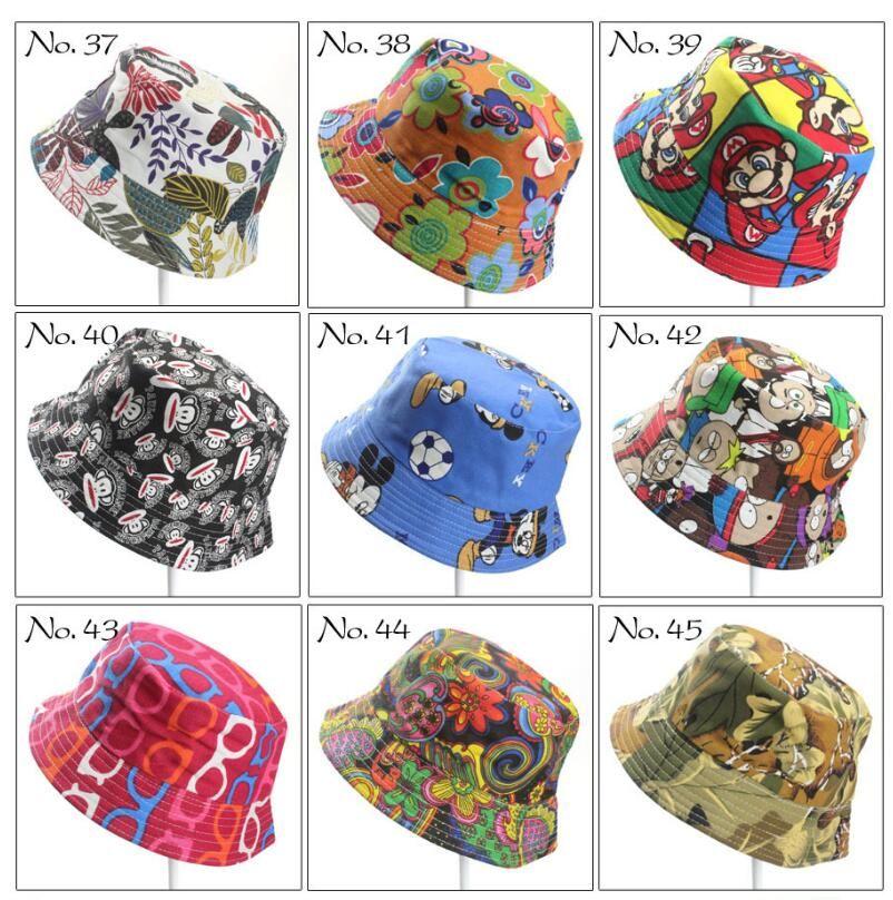 40 ألوان للأطفال قبعة دلو القبعات عارضة عباد الشمس مطبوعة حوض قماش Topee أطفال الطفل قبعة صغيرة قبعات