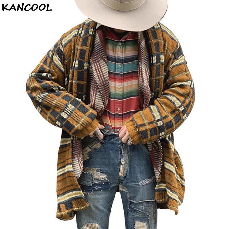 Brasão KANCOOL Homens Cardigan Sweater Men manga comprida camisola longa Vintage plaid Outono Casual Cardigans New limitada Genuine