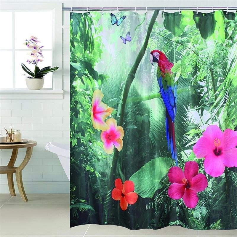 Счастливое дерево полиэстер 3D красный попугай для душа для душа 3d водопад сгущает ткань ванной занавес водонепроницаемый ванна занавес ванны. 201103.